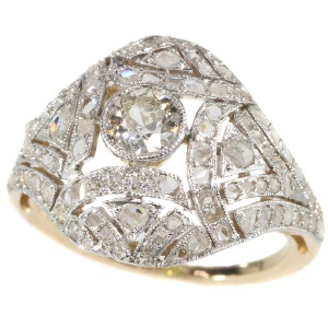 Belle Epoque Art Deco diamond two tone gold ring