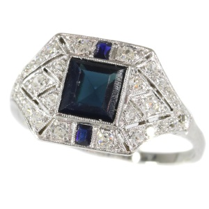Vintage Art Deco Sapphire and Diamonds Ring