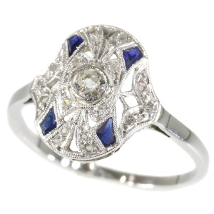 Original Vintage French Art Deco Ring with diamonds and sapphires