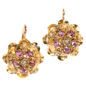 Antique Victorian Gold Amethyst And Pearl Gold Earrings