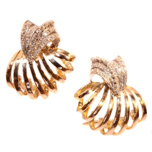 Enchanting Vintage Fifties Diamond Ear Clips Pink Gold And Platinum
