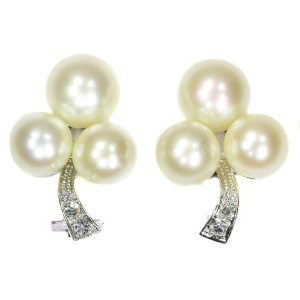 Chique Evening Dress Estate Diamond And Pearl Earclips From The Fifties
