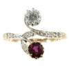 Belle Epoque antique diamond and ruby ring romantic motive toi et moi