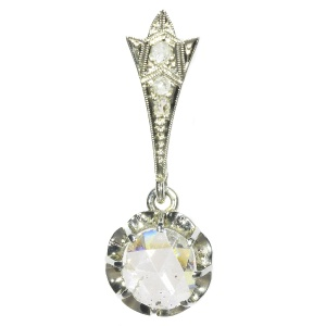 Big Rose Cut Diamond Art Deco Pendant Belle Epoque