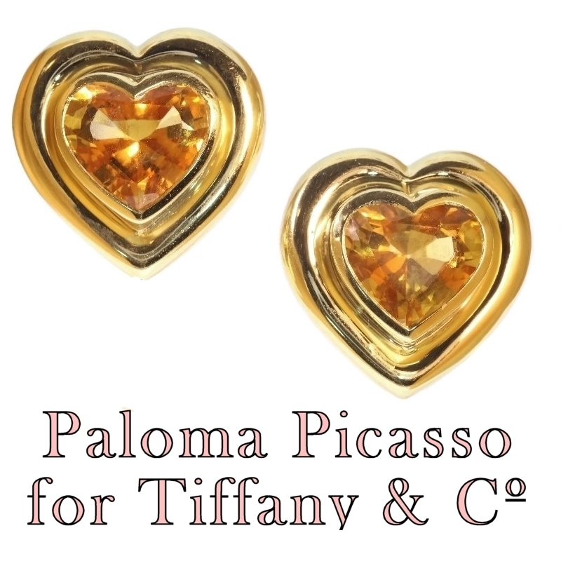 d12ab2ff7 Paloma Picasso for Tiffany & Co Vintage citrine heart shaped earclips  (image 1 of 11