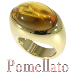 Vintage signed Pomellato ring with huge warm golden citrine