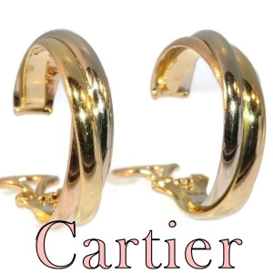 Vintage Signed Cartier ear clips model trinity three colours gold