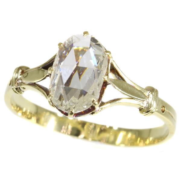Vintage yellow gold big rose cut diamond engagement ring