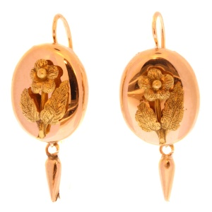 Antique Dutch pink gold earrings