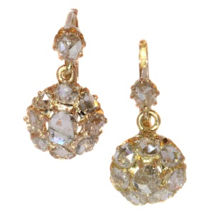 Vintage and antique rose cut diamond earrings in pink gold