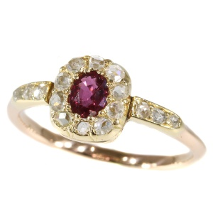 Charming diamond ruby Victorian antique ring