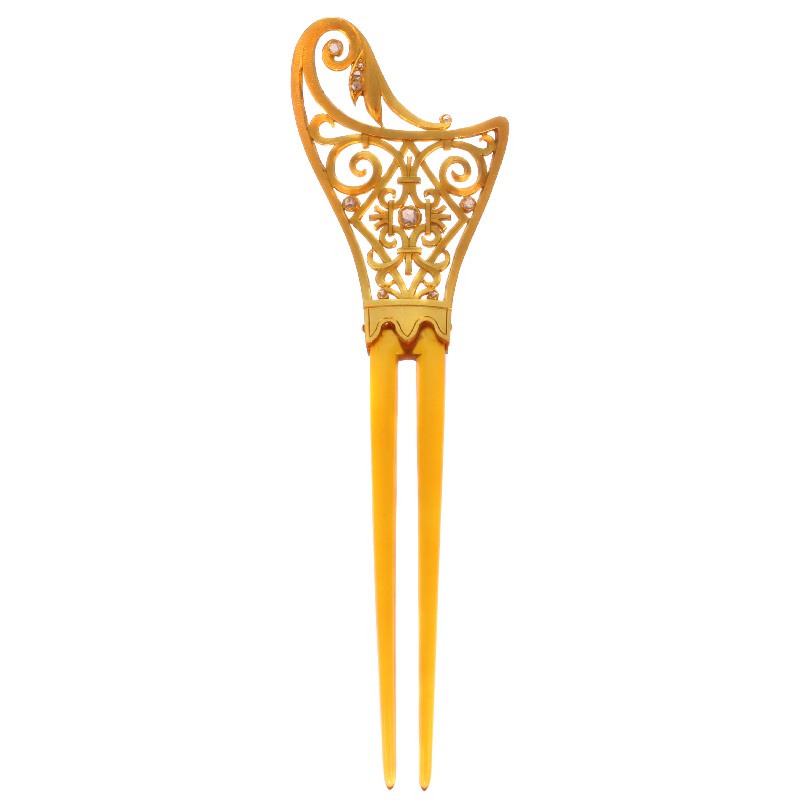 Art Nouveau French gold hair comb with diamonds and made from horn