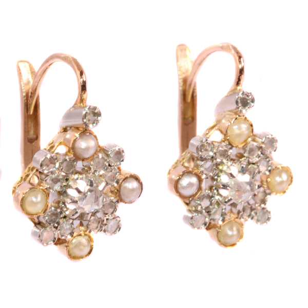Estate earrings with pearls and diamonds Belle Epoque Art Deco
