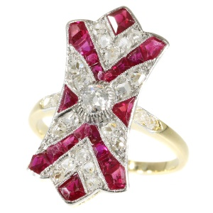 Decorative Art Deco ruby and diamond engagement ring
