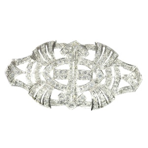 Sparkling Art Deco platinum diamond brooch - anno 1940