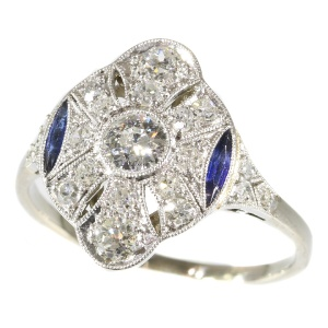 Belle Epoque Art Deco diamond and sapphire platinum engagement ring