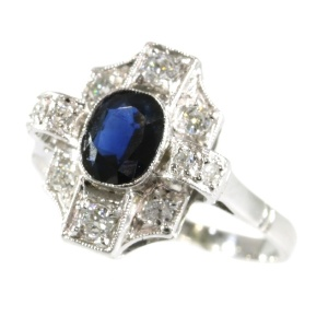 Vintage Art Deco diamond and sapphire engagement ring