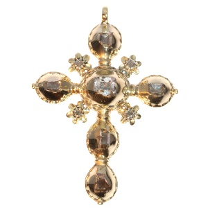 18th Century Antique gold cross all set with table cut rose cut diamonds