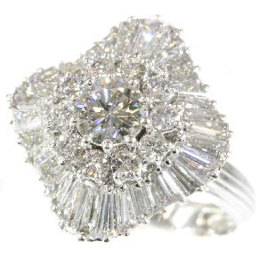 Vintage diamond cocktail ring with excessive use of diamonds