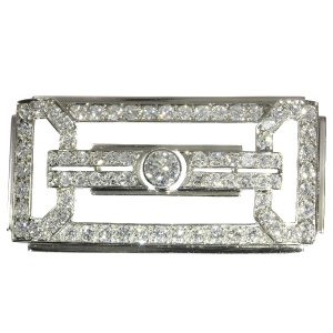 Estate platinum Art Deco diamond brooch made in the Fifties