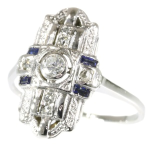 Real vintage Art Deco diamond and sapphire engagement ring