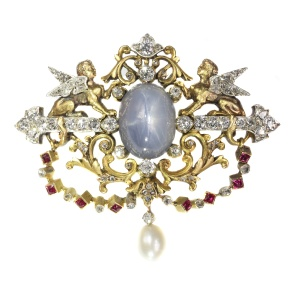 19th Century French brooch two sphinxes diamond set and star sapphire (Freemasonry?)