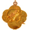 Art Nouveau gold slide locket four leaf clover with woman head