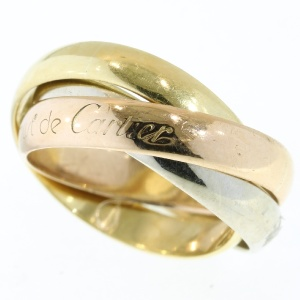 Signed gold Les Must de Cartier Trinity ring