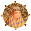 Typical late 19th cent. gold enameled brooch with bedouin woman