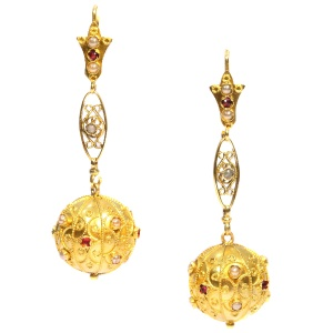 Antique ear pendents gold spheres decorated with filigree pearls and red stones