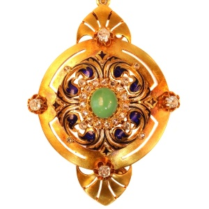 High quality antique pendant and brooch with diamonds, turqoise and enamel