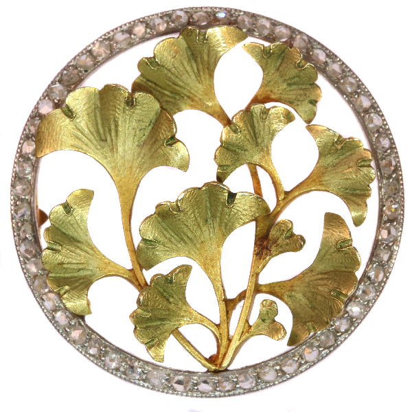 Utmost charming Art Nouveau brooch with diamonds and Ginkgo biloba ...
