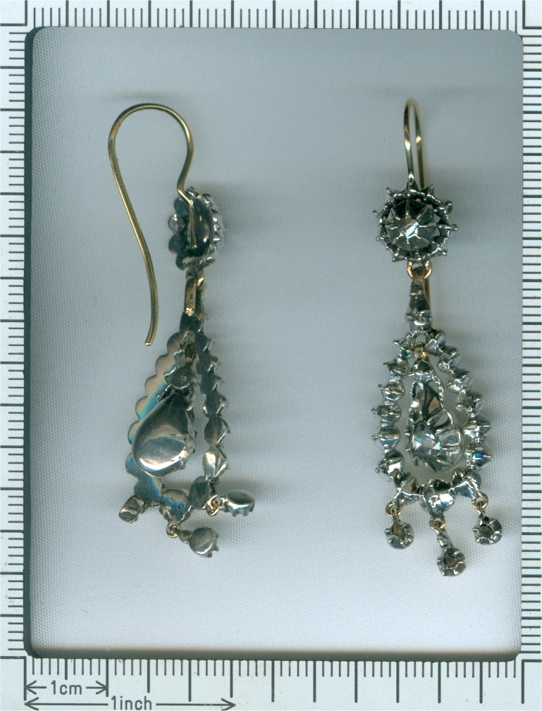 Victorian long pendent rose cut diamond earrings