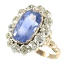 Late Victorian diamond sapphire ring with big untreated natural sapphire