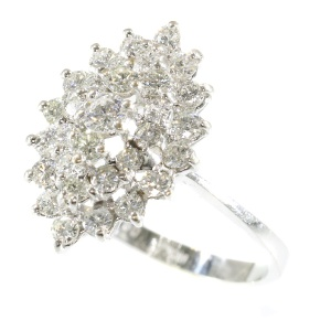 White gold marquise shaped diamond cluster ring (ca. 1970)