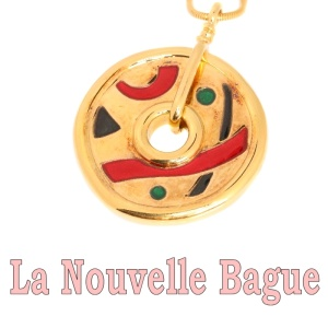 Vintage playful gold chain with enameled pendant from La Nouvelle Bague - Firenze