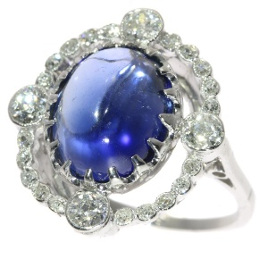 Real antique Belle Epoque diamond and sapphire engagement ring