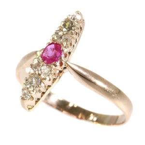 Antique Victorian ring with diamonds and ruby