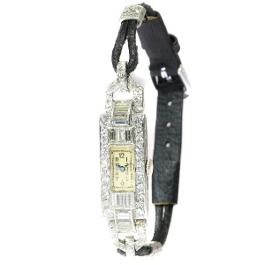 Platinum Art Deco ladies watch fully set with diamonds
