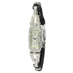 French platinum diamond Art Deco ladies wrist watch