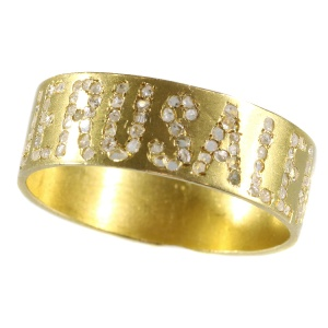 Antique Late Victorian gold band with the name Jerusalem written in diamonds