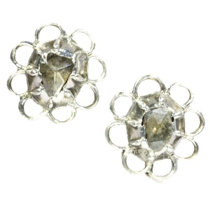 Antique Victorian short hanging earrings with rose cut diamonds