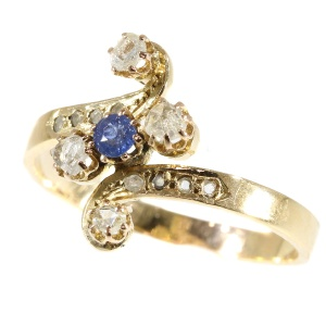 Antique Victorian gold diamond and sapphire ring (ca. 1880)