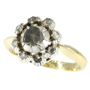 Vintage gold ring with antique foiled back diamond top (ca. 1870)
