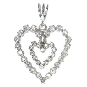 Diamond Heart With Dangling Inner Diamond Heart Gold Pendant (ca. 1970)
