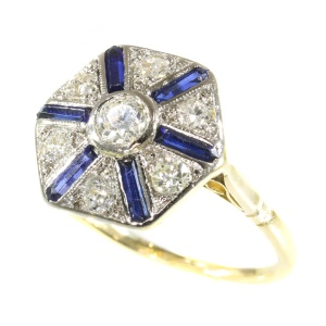 Vintage Art Deco ring with sapphires and diamonds