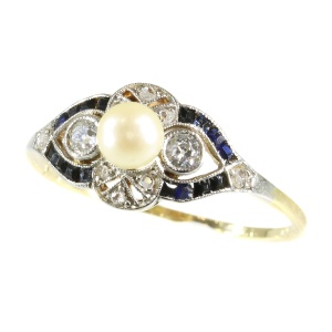Vintage sapphire diamond and pearl engagement ring