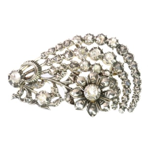 Dutch gold backed silver diamond brooch (ca. 1960)