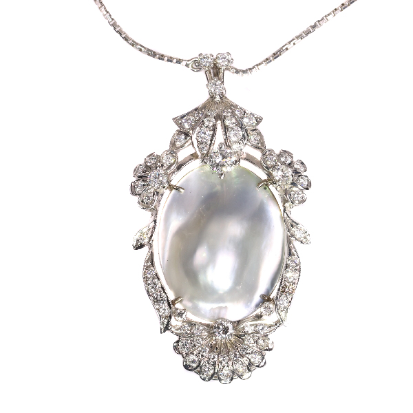 Vintage Fifties diamond and pearl pendant necklace