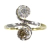 Vintage Fifties romantic engagement ring with white and champagne brilliant